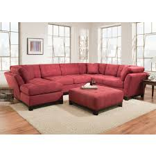 Manhattan Sectional Sofa Loveseat & LSF Chaise Red 52A5L