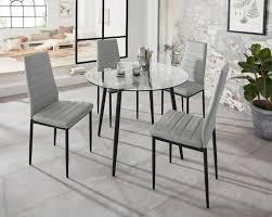 my home essgruppe danny set 5 tlg runder glastisch ø 100 cm und 4 esszimmerstühlen bezug aus kunstleder kaufen otto