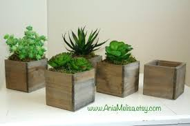 Wood Box Boxes Succulent Planter Flower Rustic Pot Square Vases For Wedding Top Table Decor Wooden Chic
