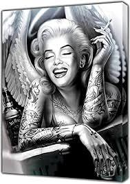 schwarz weiß marilyn engel portrait leinwand malerei wand kunst rauchen frauen poster und drucke wohnkultur bilder für schlafzimmer
