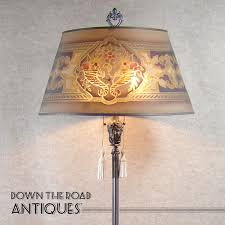 Silver Plated Marble & Alabaster Floor Lamp with Wire Mesh Shade