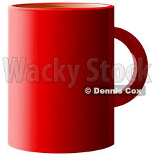 Clipart Of A Red Coffee Cup Over White