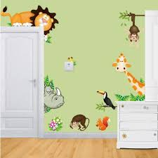 New Arrival Jungle Animal Zoo Kids Bedroom Removable Wall Stickers