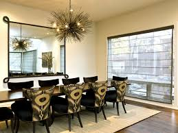 Art Deco Dining Room Chandelier With Large Square Mirror