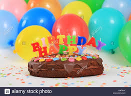 Happy Birthday Chocolate Cake With Candles And Balloons Stock For How To Make Birthday Cakes With Candles And Balloons