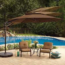 Walmart Suncast Patio Furniture by Amazon Com 11 Foot Round Solar Cantilever Umbrella With 360º