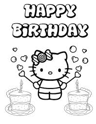 Hello Kitty Two Cakes Birthday Coloring Page