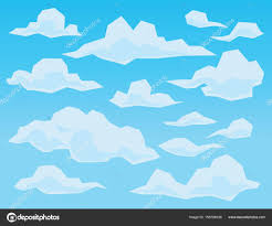 100 Flat Cloud S In Geometric Flat Faceted Style On Blue Background