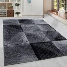 kurzflor teppich karo kachel muster wohnzimmerteppich grau schwarz meliert