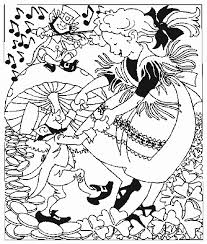 Girl Dancing With Leprechaun Coloring Page