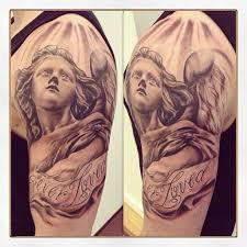 Grey Ink Angel Girl Tattoo On Man Left Half Sleeve