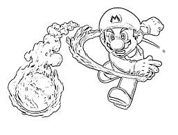 Coloring Pages Mario Bros With Fireball
