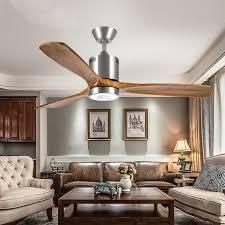 52 Inch Retro Living Room Led Ceiling Fan Light Vintage Creative Bar Dining