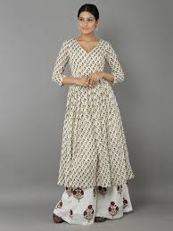 off white mulmul cotton tunic with palazzo set of 2 the loom