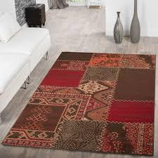 moderner wohnzimmer teppich patchwork rot