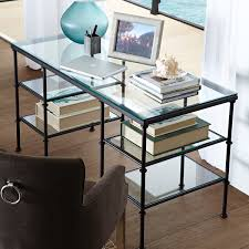 Small Glass And Metal Computer Desk by 0