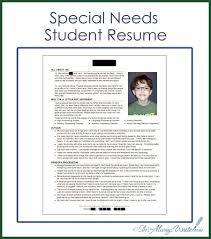 Special Needs Student Resume 2014 Update Thursday July 24