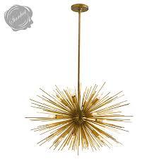 ASTRA Mid Century Sputnik Chandelier w 12 Lights Brass