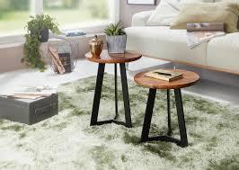 finebuy beistelltisch set fb52705 sheesham satztisch holz metall couchtische industrial stil echtholz hocker wohnzimmer holztische sofatische