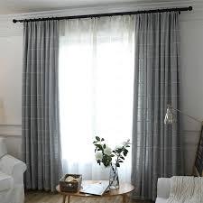 minimalismus vorhang grau raute jacquard aus leinen im wohnzimmer