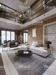 100 Apartment Design Magazine White And Gray Sofa And Leather Armchair With A Table And A Large Er Fireplace In A Loftstyle With A Living Room And Brick