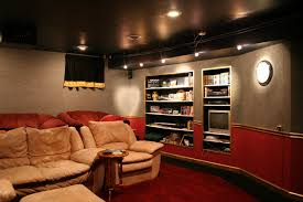 Home Theater With Beige Fabric Seat On Red Carpet And Track Lamp ... Home Theatre Design Ideas Theater Pictures Tips Options Hgtv Top Contemporary And Rooms Cinema Best 25 Small Home Theaters Ideas On Pinterest Theater Decorations Luxury In Basement House Plan Seating Hgtv