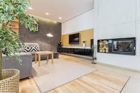 modernes wohnzimmer mit kamin stockfoto bild regal