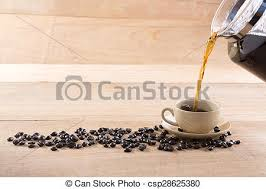 Mans Hand Holding And Pouring Coffee Into Cup