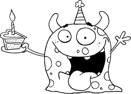 Printable Happy Monster Celebrates Birthday For Kids