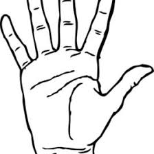 Hand Palm Facing Coloring Page Sky