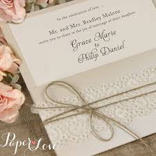 Rustic Pearl White Lace Pocket Wedding Invitation Paper Love Cards