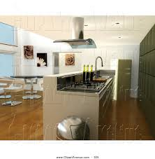 Avenue Clipart Of A Modern Kitchen Interior With Fan Over Gas Oven Bar Counter Chrome Trash Can Table And Chairs In The Dining Room