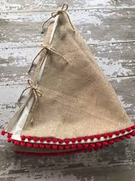 Burlap Christmas Tree Skirt With Red Pom Fringe 56 Inch