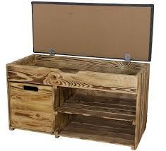 1x rustikale geflammte sitzbank gepolstert mit zwei fächern einer holzkiste optimal für schuhe mützen schals neu 90x40x55cm