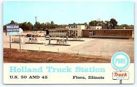 100 The Truck Stop Decatur Il Postcard IL Flora Pure Holland Gas Station 1950s US