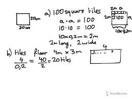 year 8 9 calculate cost of tiles to cover a floor 4mx3m each