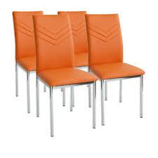 details zu 4 x esszimmerstühle verona orange chrom esszimmerstuhl küchenstuhl stuhl stühle
