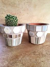 Rustic Stone Planter Mosaic Flower Pot Outdoor Container Handmade Kitchen Herb Pots Home Plant Unique Planters