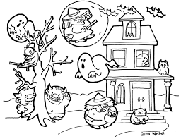Halloween Cat Coloring Pages For Printables Free At