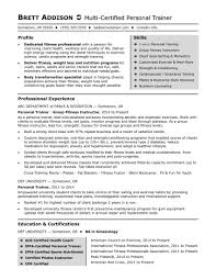 Fitness Instructor Resume Inspirational For Personal Trainer Best 28 Sample Of