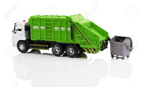 100 Garbage Truck Toy Isolated On A White Background Stock Photo