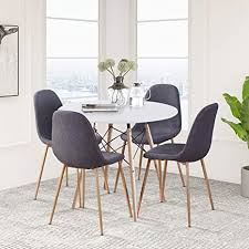 goldfan runder esstisch mit 4 stühlen moderner matt lackierter wohnzimmertisch rund holz für küche esszimmer büro navy blau