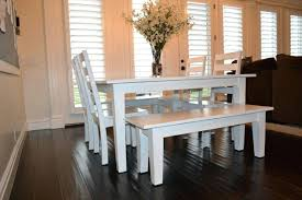 Industrial Farmhouse Table Dining Room White Wash Set With Bench