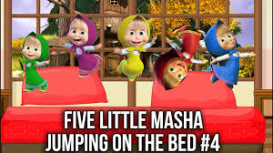 Caillou In The Bathtub Reaction by Five Little Masha Jumping On The Bed 4 Learn Colors Five