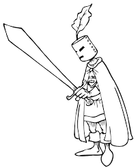 Knight Coloring Page With Big Sword