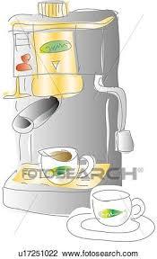 Clip Art Of Espresso Machine And Cup Illustrative Technique