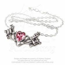 Smashing Pumpkins Heart Tattoo by Painted Lady Tattoo Gun Crystal Heart Pendant Necklace Alchemy