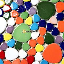 12x12 Mirror Tiles Bulk by Rainbow Mixed Color Pebble Ceramic Tiles Bathroom Shower Wall