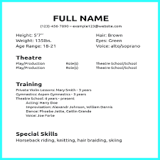Acting Resume Template No Experience Pressional