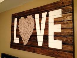 Rustic Wood Wall Love Art With Reclaimed And Fabric Faux Panels